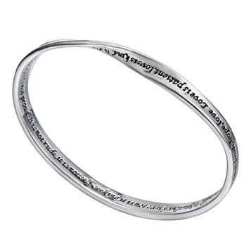 "Silver  """"Love is patient,love is kind ... "" quote bracelet bangles FREE Shipping"