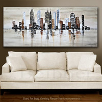 Large original abstract painting Downtown 30x72 Urban City modern abstract oil painting artwork by L.Beiboer free shipping