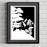 Original Papercut - Mountain Bike Art - Mountain Bike Gift - Bike Art -  Bike Gifts - Original Art - Bike Lover - Anniversary Gift - For Him