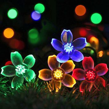 5m Solar RGB LED String Lamp Peach Flower Waterproof Fairy Lights for Christmas Wedding Party Indoor Garden Outdoor Decoration