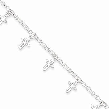 Sterling Silver Cross Charm Child's Bracelet, Best Quality Free Gift Box Satisfaction Guaranteed