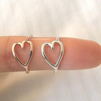 Heart ring - Gold and Silver; cute and dainty simple heart rings; minimalist knuckle rings, midi rings, mini rings, sweetheart ring