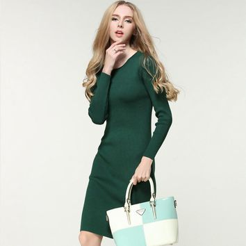 2016 New Womens Fashion Dress For Party Evening Full Sleeve Women Sweater Solid Sheath Dress