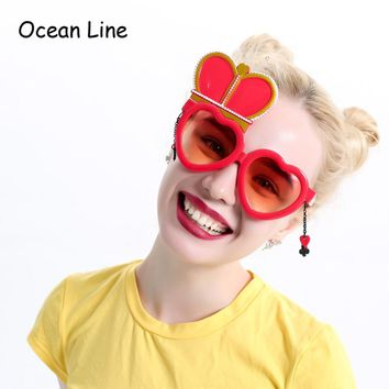 Alice In Wonderland Red Queen Costume Glasses Cosplay Heart Wedding Props Favors Festive Party Supplies Decoration Accessories