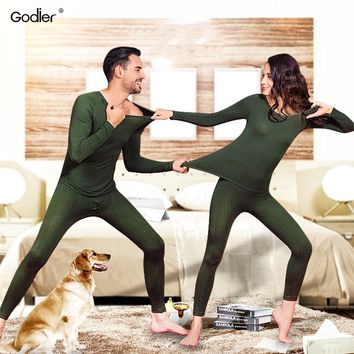 Godier winter gold armor thermal underwear suit men and women Thicken Double layer plus velvet male and female Long Johns Set