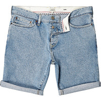 River Island MensLight wash slim denim shorts