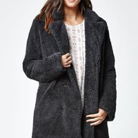 RVCA Warm Me Up Faux Fur Coat - Womens Jacket - Black