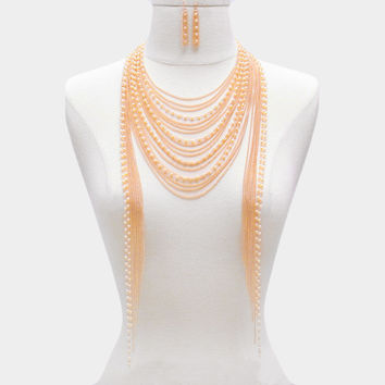 "18"" cream gold pearl layered choker collar bib necklace statement body chain"