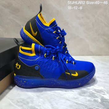 HCXX N684 Nike Zoom KD11 Mid XI Men Actual Baketball Shoes Blue Yellow