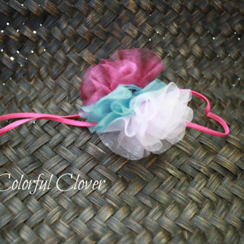 "Neapolitan Organza Pompom Headband on a 1/8"" skinny hot pink elastic. Baby girl headband. Infant Headband. Photo prop."