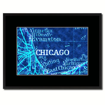 Chicago Illinois Vintage Vivid Color Map Canvas Print, Picture Frame Home Decor Wall Art Office Decoration Gift Ideas