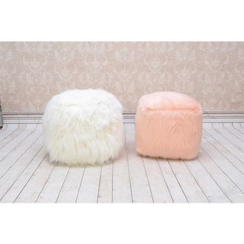 MG DECOR | Pink Faux Fur Ottoman | Nordstrom Rack