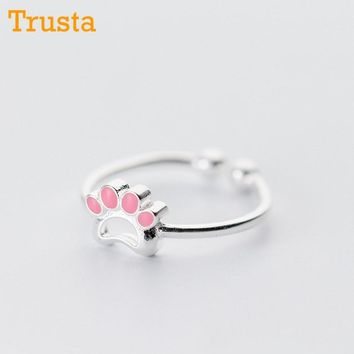 Trusta 100% 925 Sterling Silver Fashion Jewelry Pink Cat's Paw Cocktail Ring Sizable 5 6 7 Girls Kids Xmas DS357 Drop Shipping