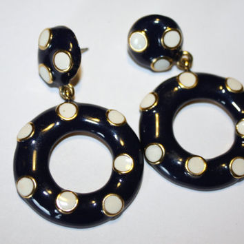 Vintage Earrings Enamel Navy Blue Dot Retro Jewelry