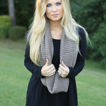 Taupe Cozy Knit Scarf