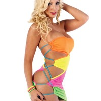 Neon Chromatic Cut Dress : UV Reactive Rave Dress from RaveReady