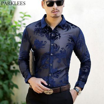 Embroidery Mens Transparent Dress Shirts Slim Fit Long Sleeve Lace Chemise See Through Mesh Camisas Club Party Prom Shirt Male