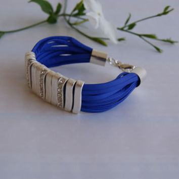 Royal Blue Multi Strand  Faux Leather Bracelet with Silver Pave Bar Sliders. Eco-Friendly Bracelet.