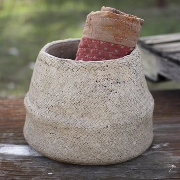 Woven Cement Planter - Natural Large