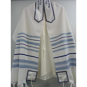 Wool Tallit with Blue and light Blue stripes