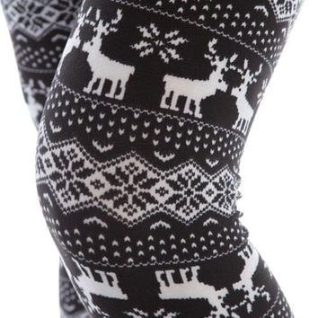 Girl's Reindeer print brushed leggings