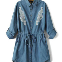 Blue Half Sleeve Shirt Collar Embroidered Elastic Waist Denim Mini Dress