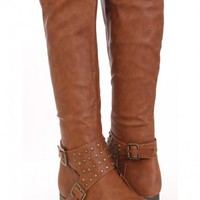 Cognac Faux Leather Studded Riding Boots