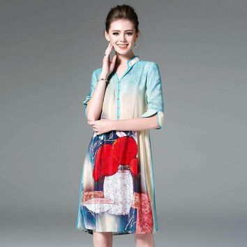 Silk Print V-Neck A-Line Dress Brand Runway Women Dress Chinese Style Office Lady Dress R3103