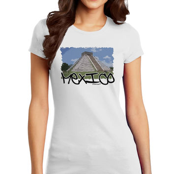 Mexico - Mayan Temple Cut-out Juniors T-Shirt