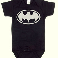 Black - Batman - Baby Onesuit - Batman Symbol - Logo - Baby Boy - Baby Girl - Baby Batman - Bodysuit