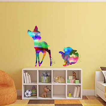 kcik2097 Full Color Wall decal Watercolor Bambi Character Disney Sticker Disney children's room Fawn