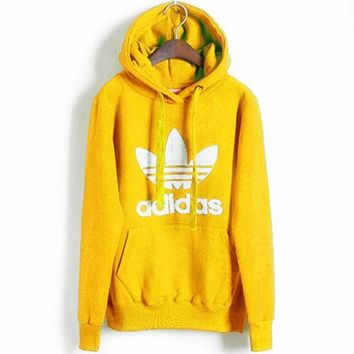 "Fashion ""Adidas"" Print Hooded Pullover Tops Sweater Sweatshirts Yellow"