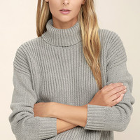 Rhythm Snowflake Grey Turtleneck Sweater
