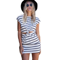 Fashion Summer Women Casual Black White Striped Short Sleeve Cut Out Twisted Knot Knot Jersey Mini Dress