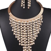 Golden Rhinestone Detail Tassel Collar Necklace And Earrings Set