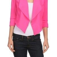 Casual Slim Lightweight Asymmetrical Hem Cropped Blazer Jacket