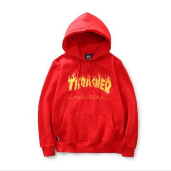 THRASHER flame tide men and women sweater men and women sweater street long sleeve loose sweater Red