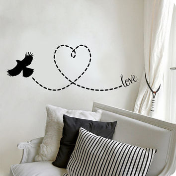 Heart Love Flying Bird Vinyl Wall Decal Sticker Art