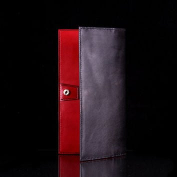 Full Grain Veg-Tan Long Leather Wallet for Men/Women - Handmade Hand Stitched and Dyed Black / Red #2