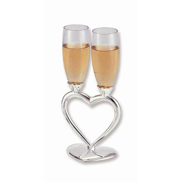 Silver-plated Heart Stand Glass Toasting Goblets - Etching Gift Item