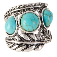 Triple Turquoise Feather Ring - Size 7
