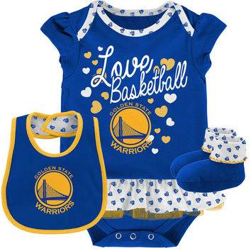 Newborn & Infant Golden State Warriors Royal Little Sweet Bib, Booties & Bodysuit Set