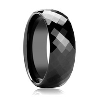 Black Diamond Faceted Tungsten Couple Matching Wedding Band Polish Finish
