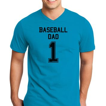 Baseball Dad Jersey Adult V-Neck T-shirt by TooLoud