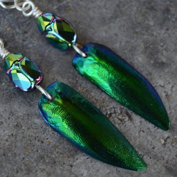 Beetle Wing Earrings Scarab Jewelry Egyptian Burning Man Style Elytra Sterling Silver Dangle Earrings Artisan Jewelry Repurposed Swarovski
