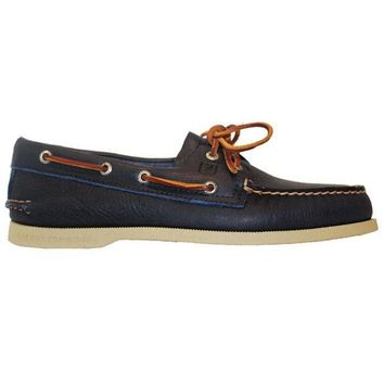 CREYONIG Sperry Top-Sider A/O 2-Eye - Tumbled Blue Leather Boat Shoe