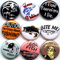 "FISHING I love to Fish Fisherman 9 Pinback 1"" Buttons Badges Pins"