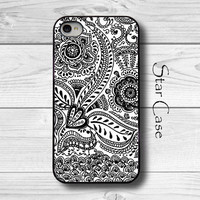 iPhone 4/ 4s and 5 Case - Thai Pattern 1 Cell Phone Cover - iPhone Hard Case- Black And White Pretty Girly -  Christmas Gift For Her