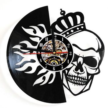 Skull With Crown On Fire Vinyl Record Wall Clock