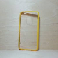 Silicone Bumper and Clear Hard Plastic Back Case for Samsung Galaxy S5 Yellow